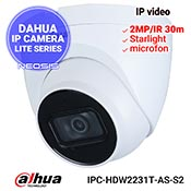 Camera IP DAHUA IPC-HDW2231T-AS-S2 - Full HD, Starlight, microfon, SD card