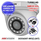 Kit NEO-Lite: HIKVISION DS-2CE56D0T-IRF(C) + video-balun + sursa 1A