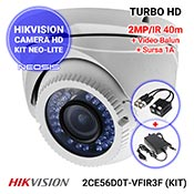 Kit NEO-Lite: HIKVISION DS-2CE56D0T-VFIR3F + video-balun + sursa